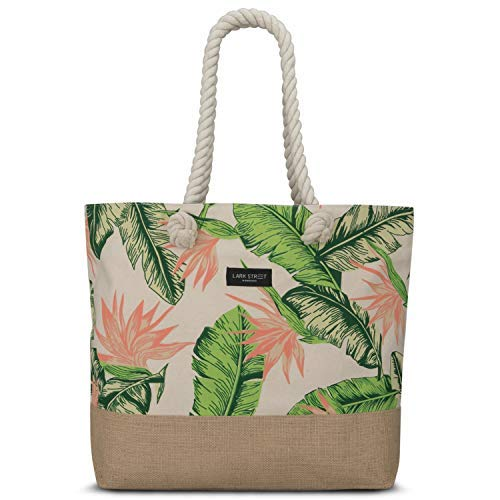 Beach Bag Floral Peach - LARK STREET Travel Tote for Women & Men Made of Sturdy Cotton Canvas & Jute - Swim Bag with Wide Rope Handles for Comfort - Large Carrier Bag with Zipper