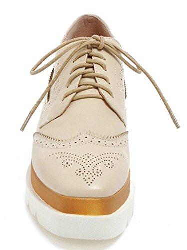 Idifu Womens Habillé Mi-talon Lace Up Sneakers Fermé Orteils Plate-forme Wedges Chaussures Abricot