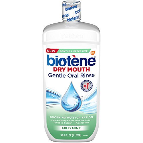 Biotene Dry Mouth Gentle Oral Rinse, Mild Mint, 33.8 fl oz (Pack of 2) -