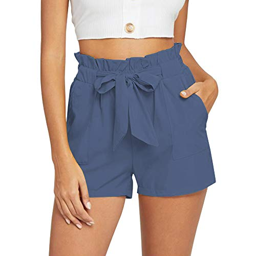 NEWFANGLE Women's Casual Paper Bag Shorts Elastic Tie Waist with Pocket Comfy Summer Shorts for Women,Blue-Gray,L