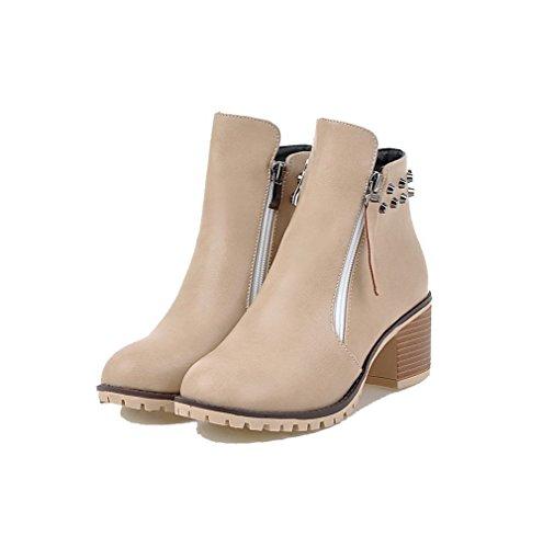 VogueZone009 Damen Blend-Materialien Mittler Absatz Rund Zehe Reißverschluss Stiefel, Cremefarben, 41