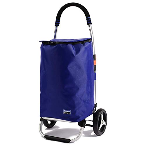 Shopping Trolley, TUOMAN Folding Shopping Carts Rolling Grocery Cart with Wheels for Laundries, Cargo, Beach-Blue