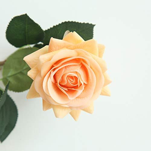 JOEJISN Artificial Flower Roses Fake Roses 12pcs Real Touch Artificial Roses Silk Artificial Roses Long Stem Bridal Wedding Bouquet for Home Garden Office Wedding Decorations (Light - Orange Bridal Bouquet