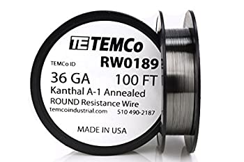 TEMCo Kanthal A1 wire 36 Gauge 100 Ft Resistance AWG A-1 ga
