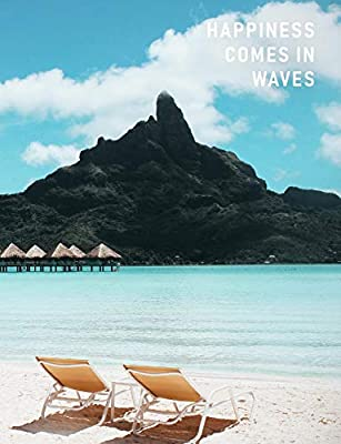 Happiness Comes In Waves Artsy College Ruled Notebook Blue