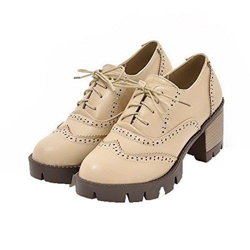 AmoonyFashion Womens Checkered PU High-Heels Lace-Up Round-Toe Pumps-Shoes Apricot UGzZoFNlay