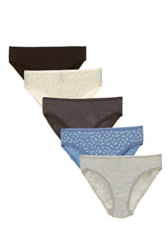 Rise Organic Cotton (Womens Panties Cotton Brief Underwear - Soft Comfort Hi Cut French Cut Sexy Lingerie For Women Set Pack Of 5 (L, Asst/9))