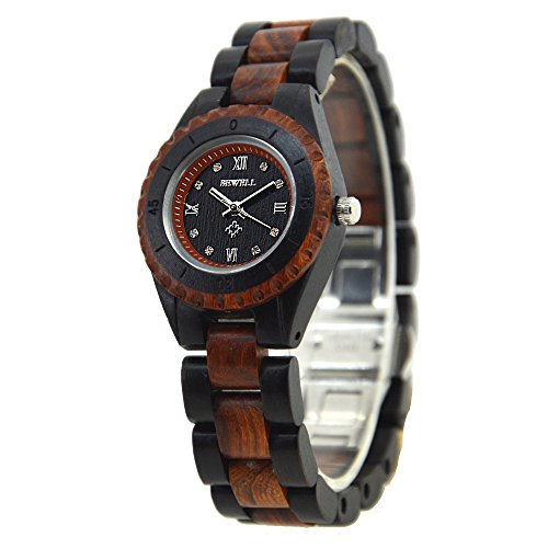 Bewell Two Tone Bracelet Wood Wristwatch for Ladies, Casual Quartz Female Watches W128AL