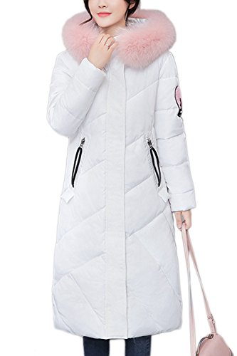 Warm Hooded Lined White Coats Women Casual Winter Puffer Outerwear Parkas Down RawwWEFUq