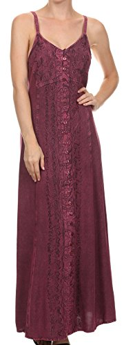 Sakkas 15228 - Aisley Floral Embroidered Sleeveless Adjustable Strap Button Up Dress - Orchid - 1X/2X