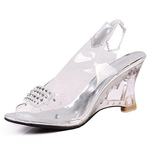 de mujer plata con correa Fashion tobillo Zapatos Heel W0R7qwgHI