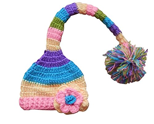 Happy Cherry Rainbow Unisex Newborn Knitted Handmade Hat Colorful Photo Prop Costume(0-4Months)