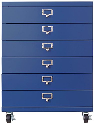 """Home Decorators Collection Becker 6 Drawer Metal Cart, 26.5"""" Hx20 Wx14 D, Sapphire - 20""""W x 14""""D. With casters: 26.75""""H. Without casters: 24""""H. Fully assembled; just attach optional casters. - dressers-bedroom-furniture, bedroom-furniture, bedroom - 41WP4AINdsL -"""