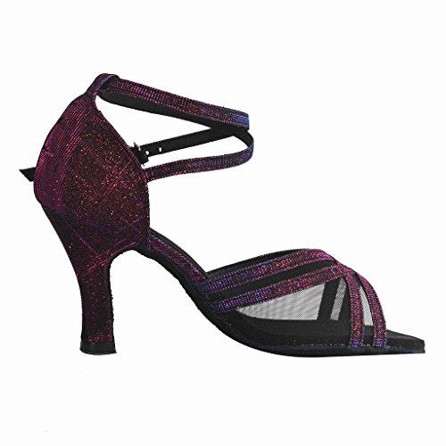 """Jig a sandalias Foo Fighters Open-toe Latina Salsa Tango salón de baile zapatos de baile para las mujeres con 3""""talón purple and black"""