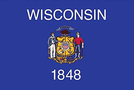 358c28b07d1e0 Valley Forge, Wisconsin State Flag, Nylon, 3' x 5', 100% Made in USA,  Canvas Header, Heavy-Duty Brass Grommets