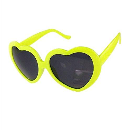 M-Egal Classic Love Cute Heart Shape Design Unisex Sunglasses Fluorescent Yellow Eyes - Cute Heart Shape