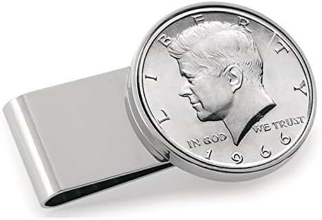 JFK Half Dollar Stainless Steel Silvertone Money Clip