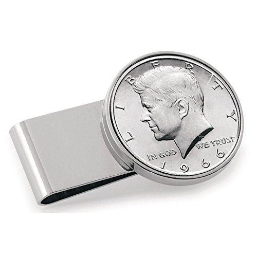 American Coin Treasures JFK Half Dollar Stainless Steel Silvertone Money Clip