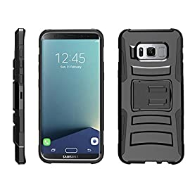TurtleArmor | Compatible for Samsung Galaxy S8+ Case | S8 Plus Case | G955 [Hyper Shock] Hybrid Dual Layer Armor Holster Belt Clip Case Kickstand - 36 Dual Layer Protection - Soft inner silicone skin and hard outer polycarbonate PC plastic for the ultimate protection Kickstand - Built-in stand allows for hands-free media viewing in landscape or portrait mode Hundreds of Designs to Choose From - Offers a variety of unique, cool, and custom designs.