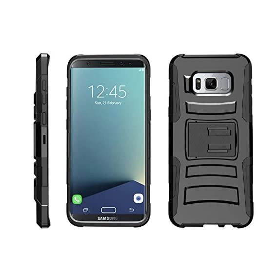 TurtleArmor | Compatible with Samsung Galaxy S8+ Case | S8 Plus Case | G955 [Hyper Shock] Hybrid Dual Layer Armor Holster Belt Clip Case Kickstand - Bat Signal 1 Dual Layer Protection - Soft inner silicone skin and hard outer polycarbonate PC plastic for the ultimate protection Kickstand - Built-in stand allows for hands-free media viewing in landscape or portrait mode Hundreds of Designs to Choose From - Offers a variety of unique, cool, and custom designs.