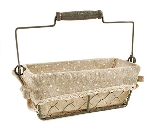 Rectangular Polka Dot and Chicken Wire Basket with Handle 4 x 8 Storage Decoration