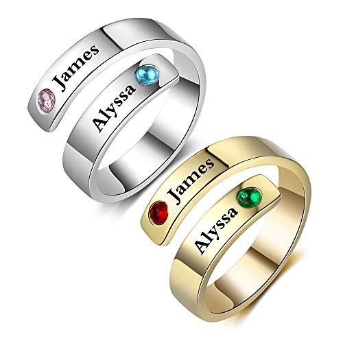 Fortheday Personalized Free Engraving Name BFF Wrap Rings with 2 Simulated Birthstones for Women Adjustable Best Friends Promise Rings (Silver+Rose Gold) (Names For 2 Best Friends)