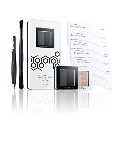 Beautiful Brows Duo 13 Piece Eyebrow Stencil Kit - 6 Brow Stencils, 1 Duo Brow Powder (Slate Gray/Black), 1 Duo Applicator and Volumizing Brush, 1 Duo Highlighter (Shimmer/Matte) with Brush, Precision Tip Tweezers with Brow Brush, Compact Magnifying Mirror