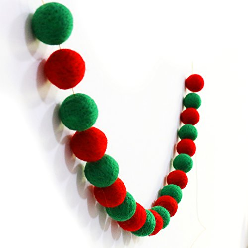 Wool Felt Balls Garland for Christmas Decoration(Green+Red)