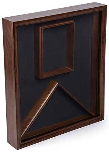 Displays2go, Flag and Photo Display Case, Wood with Glass Cover, Wall or Tabletop Placement – Cherry Finish (Military Certificate)