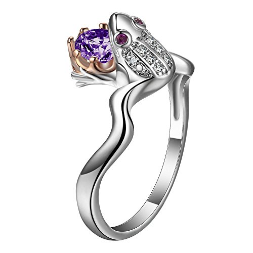 Yupha Frog Prince Crown 925 Silver Black Sapphire Wedding Engagement Ring Size 6-10 (Purple) - Ring Prince Sapphire