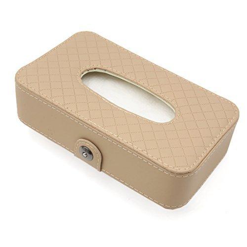 - eDealMax Car Beige Faux Cuir Rhombus Motif du Visage Boîte de Tissu Papier Porte-Serviette coffret de Rangement