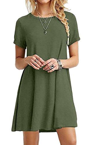 Donne Casuale Manica Semplice T Breve Verde Vestito Normale shirt Allentato Jaycargogo RwA5fdqR