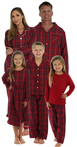 Plaid Flannel Lounger (SleepytimePjs Christmas Family Matching Plaid Thermal Pajamas PJS Sets For The Family Kids Lounger (STM385-PLA-K-3700-6))