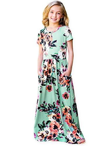 21KIDS Kids Floral Maxi Dress Girls Summer Casual Pocket Long T-Shirt Short Sleeve for Kids 6-12