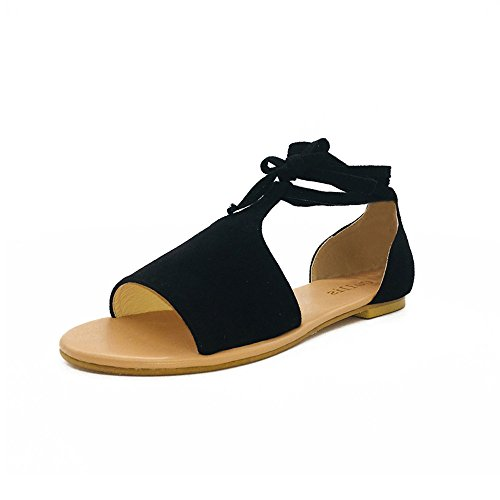 2019 New! JJLIKER Women Gladiator Peep Toe Lace Up Flat Sandals Comfort Suede Shoes Summer Fashion Black ()