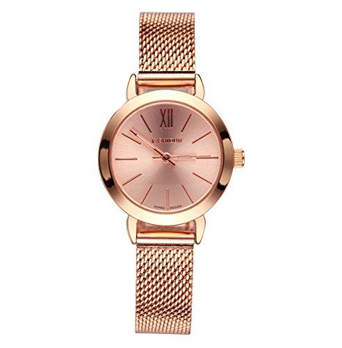 KASHIDUN Women's Quartz Watches Wrist Watches Rose Gold Small Dial Mesh Steel Bracelet.SD-MG