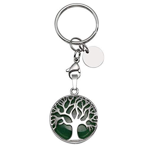 CrystalTears Tree of Life Keychain Green Aventurine Lucky Keychain Reiki Healing Crystals Keyring Handbag Decor Hanging Ornament (Keychain Gemstone Aventurine)