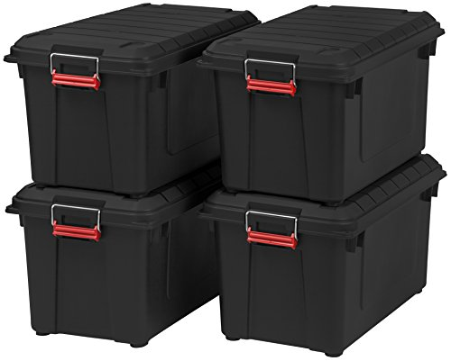 IRIS 82 Quart Weathertight Storage Box, Store-It-All Utility Tote, 4 Pack, Black