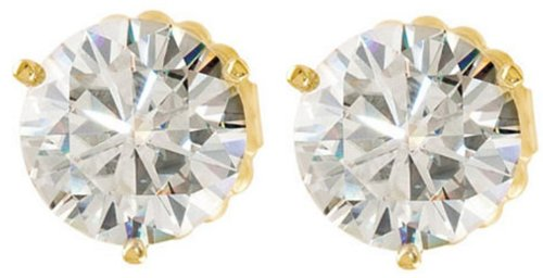 4 Cttw Charles and Clovard 14k Yellow Gold Moissanite Solitaire Earrings by The Men's Jewelry Store (Unisex Jewelry)