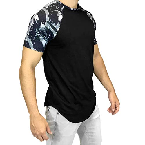 POQOQ Tops Blouse T-Shirt Men Casual Summer Camouflage Print Short Sleeve O-Neck Tops Blouse T-Shirt M -
