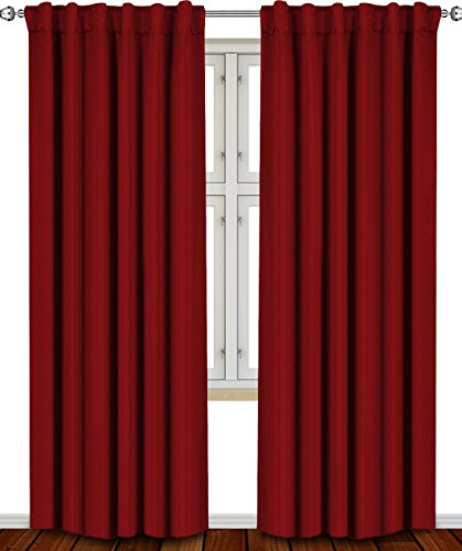 Blackout, Room Darkening Curtains Window Panel Drapes - (Burgundy Color) 2 Panel (Color Blackout Curtain)