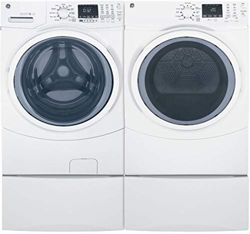 GE Front Load Steam GFW450SSMWW 27″ Washer with GFD45ESSMWW 27″ Electric Dryer and 2x SBSD137HWW Pedestal Laundry Pair in White