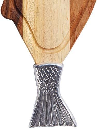 Plancia in Legno dacacia e Metallo per servire Il Pesce Kitchen Craft Master Class