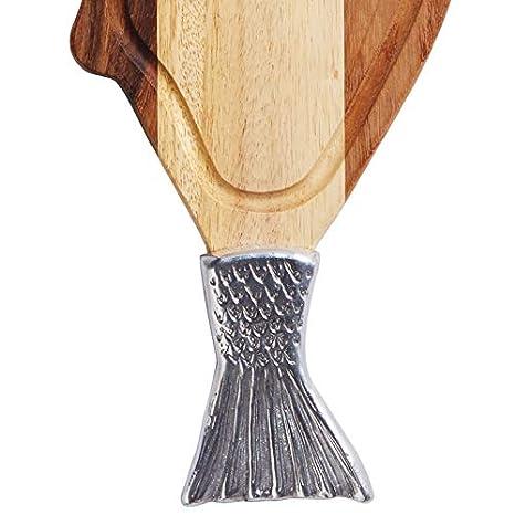 Madera de Acacia, 20 x 66 cm, Acabado met/álico dise/ño de Pescado Tabla de Cortar Master Class