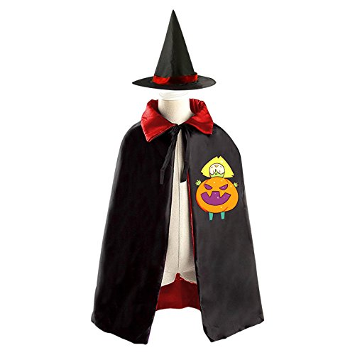 DIY Steven Universe Peridot in a Pumpkin Costume Costumes Party Dress Up Cape Reversible with Wizard Witch Hat (Halloween Trick Or Treating Origin)