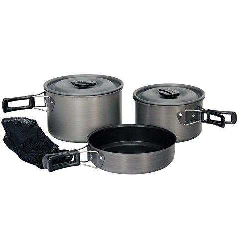 Texsport Hiker Black Ice Hard Anodized Compact Outdoor Camping Cookware Cook Set - Texsport Black Ice