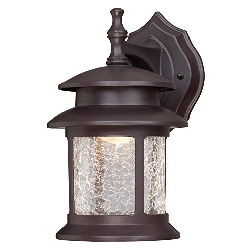 Westinghouse Lighting 6400300 LED Exterior Wall Lantern, Oil Rubbed Bronze Finish on Cast Aluminum with Crackle Glass