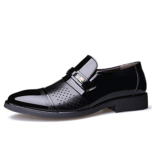 scolpito Color Nero 2018 shoes traspirante stile da EU Scarpe da Fang e 41 in uomo Nero Primavera Estate verniciata nuovo uomo Dimensione pelle casual OUFwxHn