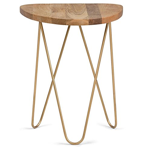Simpli Home Patrice Metal/Wood Accent Table, Natural and Gold