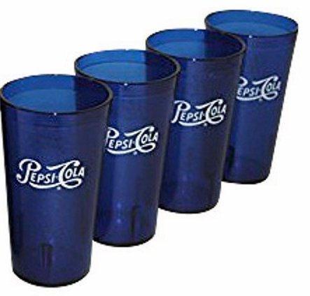 (Classic Pepsi Script Logo Royal Blue Plastic Tumblers Set of 4 - 16oz - BPA Free - Carlisle Quality Tumblers)